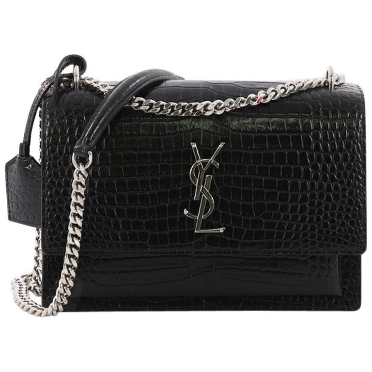 Saint Laurent Sunset Crossbody Bag Crocodile Embossed Leather Medium at  1stdibs 95d658720cc55