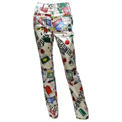 Moschino Vintage Iconic 90s Monopoly Print Moschinopolis Trousers
