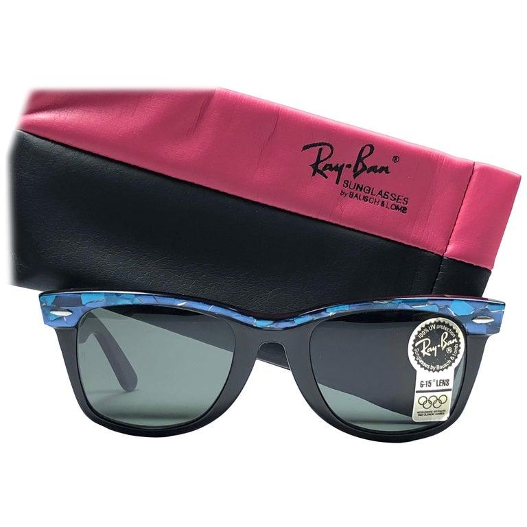 New Ray Ban The Wayfarer Blue / Black B&L G15 Grey Lenses USA 80's Sunglasses