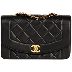 1996 Chanel Black Quilted Lambskin Vintage Small Diana Classic Single Flap Bag