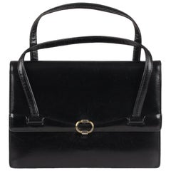 Gucci Vintage Black Leather Handbag Top Handle Bag Purse