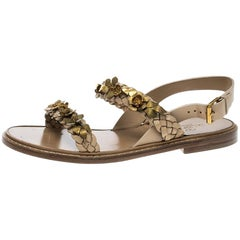 Valentino Beige Braided Leather Floral Embellished Flat Sandals Size 39
