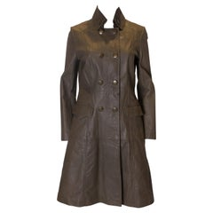 Vintage Olive Leather Coat