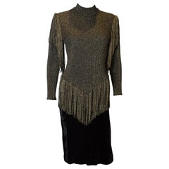 Vintage Gold and Black Party Dress with Fringing