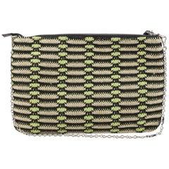 M Missoni Metallic Crochet Knit Clutch Shoulder Bag with Chain