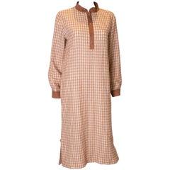 A Vintage 1980s courreges check autumnal Shirt Dress