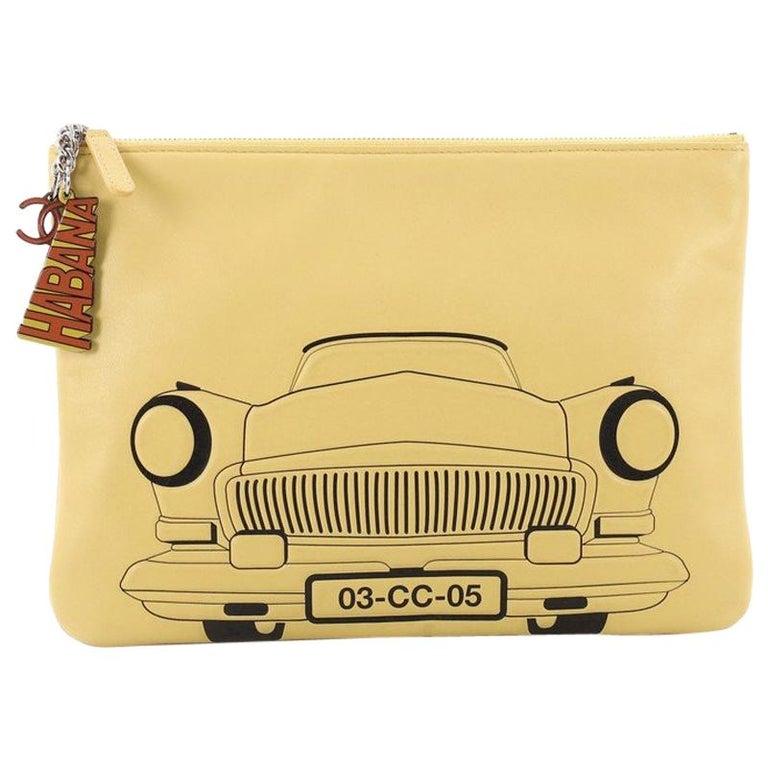 23dd9a2c86bff6 Chanel Cuba La Habana O Case Clutch Printed Embossed Lambskin Medium For  Sale