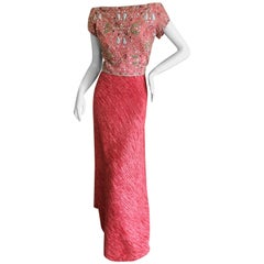 Mary McFadden Couture 1970's Rose Red Plisse Pleated Embellished Evening Dress