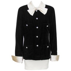 Late 1980s Chanel Black Velvet Jacket with Cream Satin Collar
