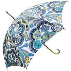 Emilio Pucci Vintage Wood Umbrella with Leather Handle