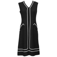 1960s Black Day Dress with White Piping