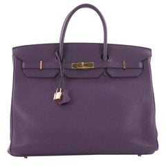 Hermes Birkin Handbag Ultraviolet Clemence with Gold Hardware 40