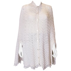 Vintage White Knitted Cape