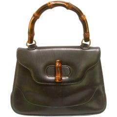 Gucci Italy Iconic Bamboo Handle Leather Handbag circa 1970s