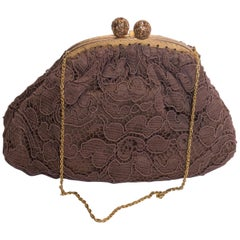 Vintage Brown Lace Evening Bag