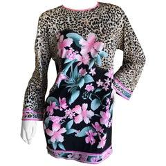 Leonard Paris 1970's Pure Silk Jersey Floral and Leopard Print Mini Dress