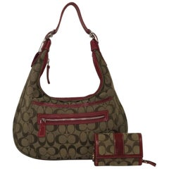 Coach Signature Jacquard Canvas Hobo Handbag and Matching Wallet in Red