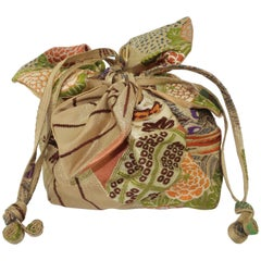 1950's Drawstring Silk Handbag From Japanese Obi Cloth