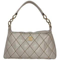 Chanel Lambskin Leather Wild Stitch Small Shoulder with Gold Hardware in White