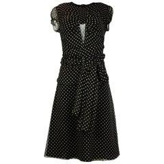 Morgane Le Fay Black Polka Dot Short Sleeve Dress W/ Attached Sash Sz S