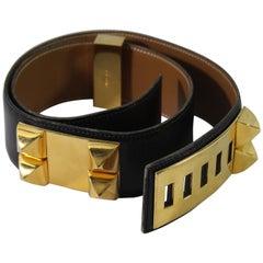Hermes Vintage Medor Black Belt. Size 75