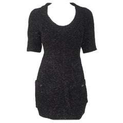 Chanel Black Silk Blend Short Sleeve Shimmering Dress 40