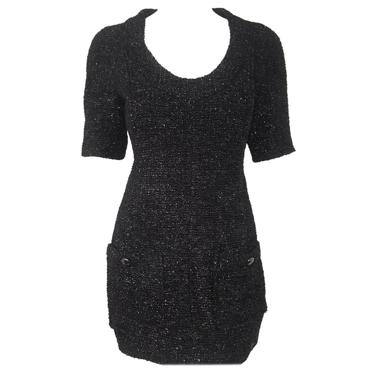 Chanel Black Silk Blend Short Sleeve Shimmering Dress For Sale