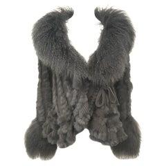 Dolce & Gabbana Charcoal Virgin Wool & Tibetan Lamb Fur Jacket