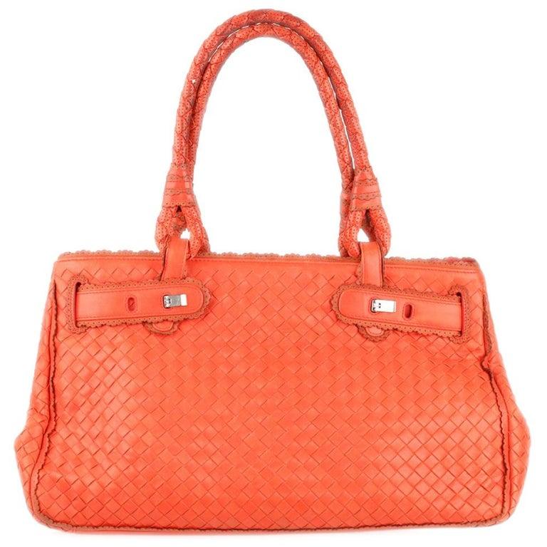 d47a334cbfc Bottega Veneta Coral Intrecciato Woven Leather Bag Scalloped Trim For Sale