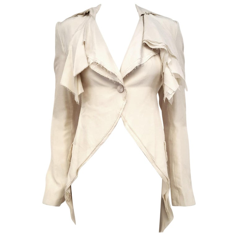 Alexander McQueen Habotai Silk & More Silk Winter White 10 Layer Coat For Sale