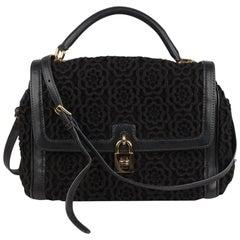Dolce & Gabbana Black Crochet Miss Bonita Satchel Handbag
