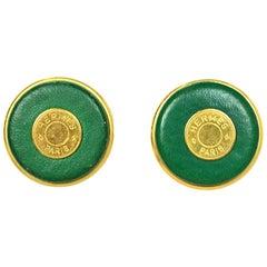 Hermes Vintage '80s Green Leather Goldtone Logo Clip On Earrings