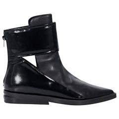 Black Robert Clergerie Cutout Leather Ankle Boots
