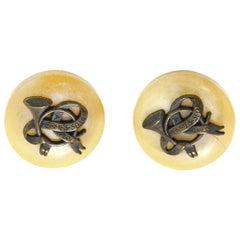 Hermes Vintage '80s Tan/Brass Horn/Ribbon Logo Clip On Earrings