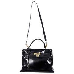 Black Vintage Hermes Kelly Retourne 28 Bag