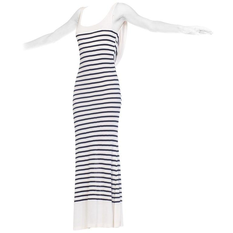 1990s Jean Paul Gaultier Nautical Striped Backless Jersey Dress For Sale
