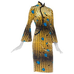 1960S Mod Chinesse Geometric Silk Velvet  Dress