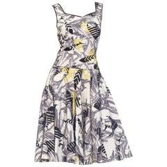 1950S DE JOHNSON Cotton Tropical Fish & Mermaid Printed Dress