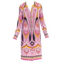 1960s Mod Psycadellic Paisley Printed Silky Jersey Leonard Shirt Dress
