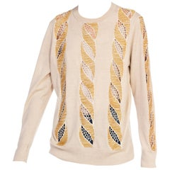 Dries Van Noten Lace Cut Out Gold Beaded Sweater