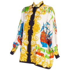 568cb464 1990s Gianni Versace Silk Blouse boats and gold scrolls