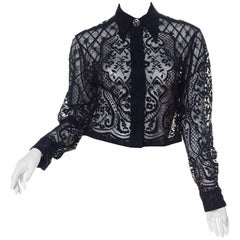 1990s Gianni Versace Sheer Baroque Blouse