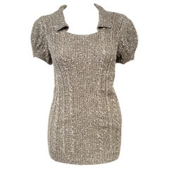 Oscar de la Renta Pewter Tone Short Sleeve Sequined Sweater