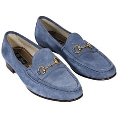Light Blue Gucci Suede Loafers