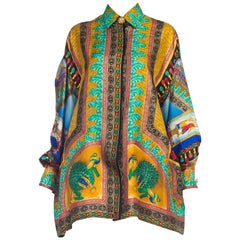 Gianni Versace Peacock Print Silk Shirt
