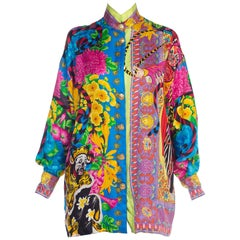 Gianni Versace Couture Japanese Theatre Baruque Medusa Print Blouse Chinese
