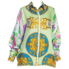 1990s Gianni Versace Istante Baroque Silk Blouse