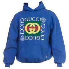 Bootleg Vintage 1980s Blue Gucci Hoodie Sweatshirt