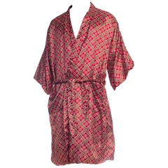 Mens Silky Plaid Robe 1960