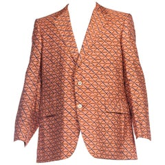 1960s Mens Hand Printed Silk Blazer XL